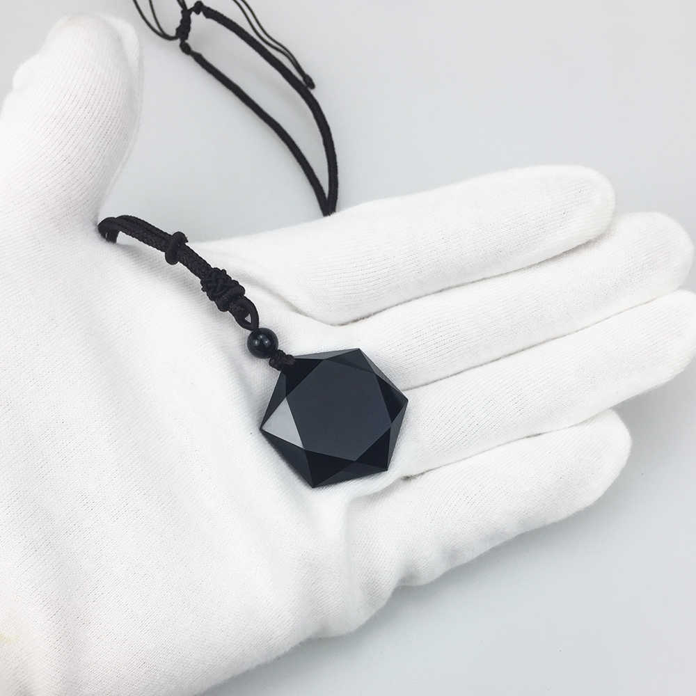 ecb3e5e4af7e3 Black Obsidian Natural Stone Pendant Necklaces For Women and Men Cubic  Hexagram Sweater Necklace Amulets And Talismans Jewelry