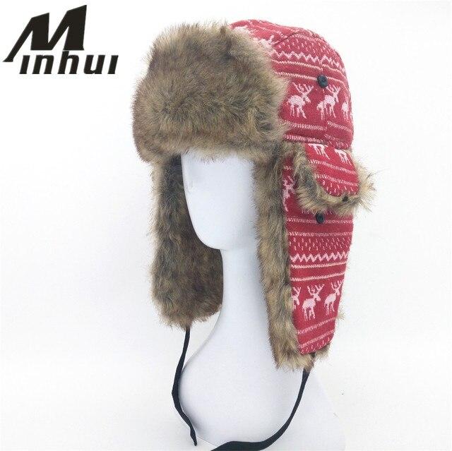 7c8c8c50da7e2f Minhui Women Outdoor Thickening Cotton Fur Winter Earflap Keep Warm Snow  Caps Russian Ski Bomber Hats