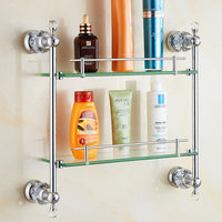 Crystal&brass Chrome Finished Bathroom Shelf Double Shelf Pure Copper & Glass with Towel Rack 2 layerBathroom Accessories