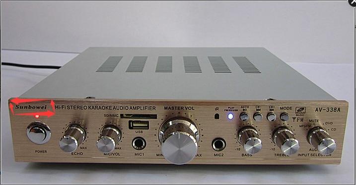 150W+150W AV338 Super Slim With Bluetooth Usb Card Home Audio Amplifier Power Amplifier / High Power Amplifier Karaoke Computer am 70 150w 150w power amplifier machine