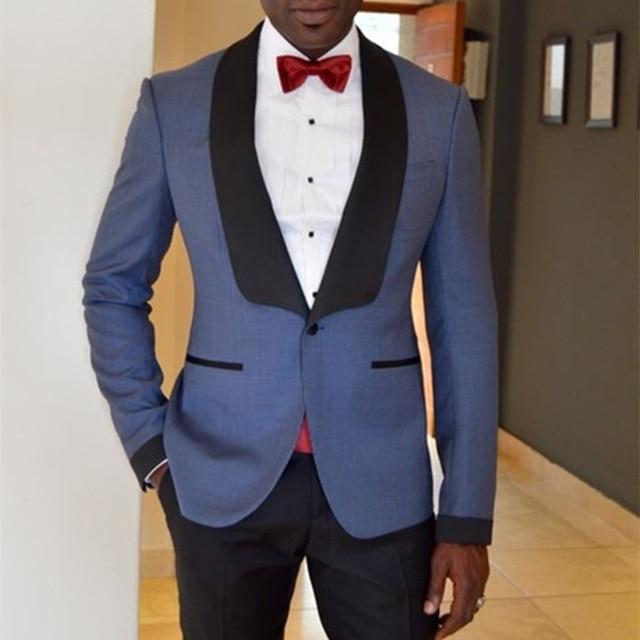 42bba10af49 Black Satin Shawl Lapel Grey Men Suit Formal Groom Wedding Party Prom Suits  Custom Men Tuxedos 2 Pieces Vestidos (Jacket+Pants)