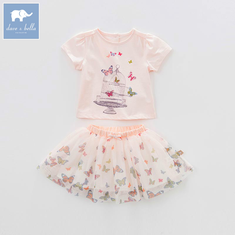 DBA6596 dave bella summer baby girl's with skirt clothing sets children infant toddler suit kids high quality clothes high quality skirt