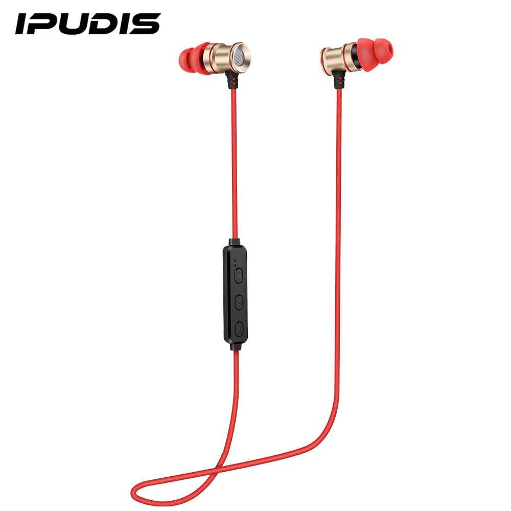 IPUDIS المغناطيس معدن الرياضة بلوتوث سماعة سماعة لاسلكية صغيرة داخل الأذن ستيريو سماعة رأس مزودة بميكروفون
