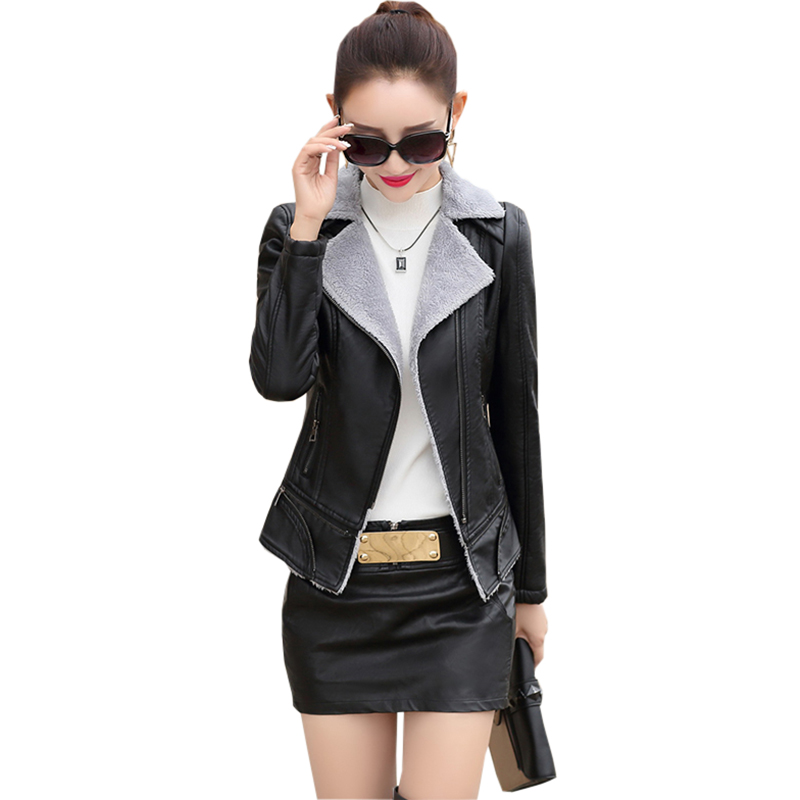 2017 Autumn Winter Faux   Leather   Jacket Woman Slim Short Casual Pu   leather   Thick   Suede   Coat Ladies Women   Leather   Outerwear FP0166