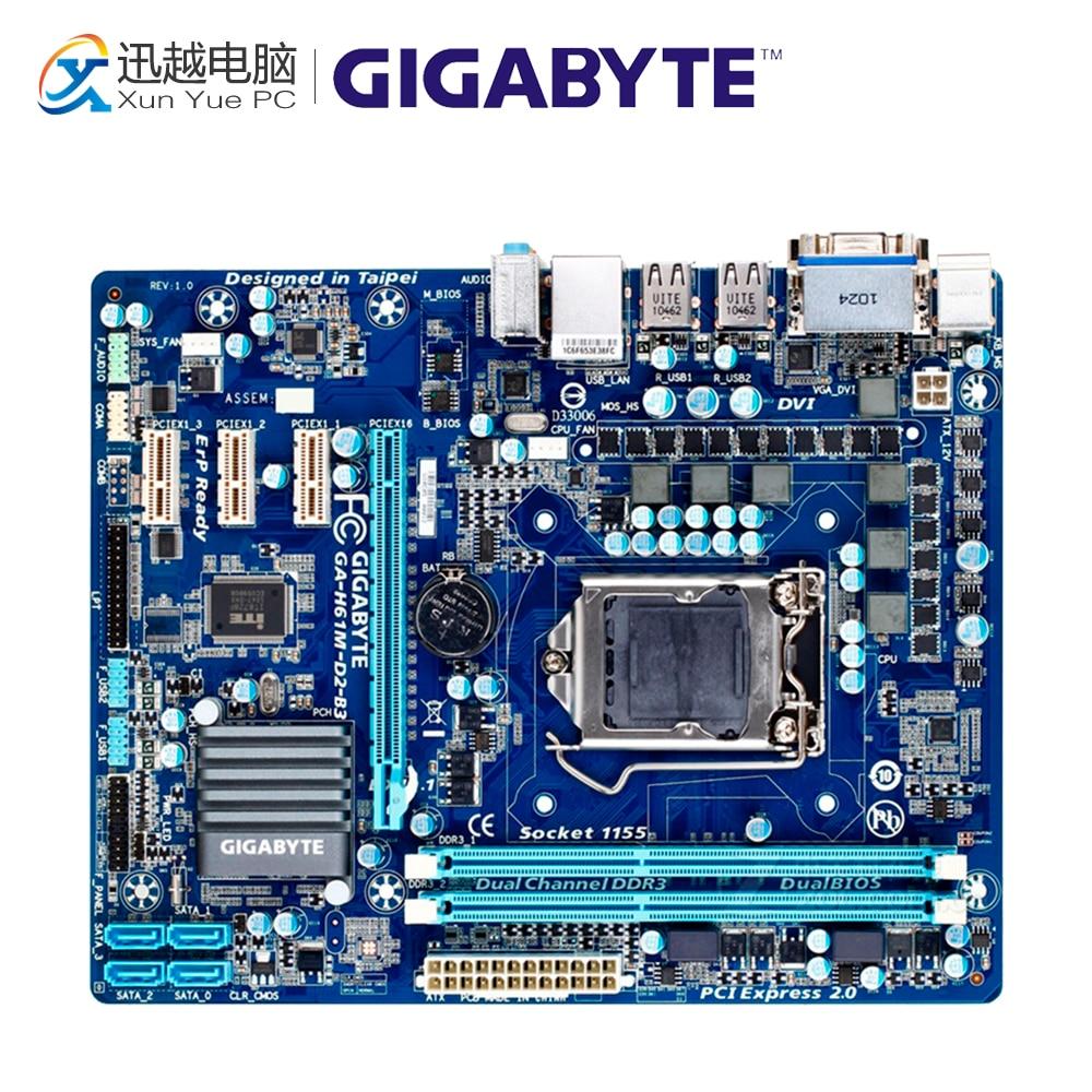 Gigabyte GA-H61M-D2-B3 Desktop Motherboard H61M-D2-B3 H61 LGA 1155 i3 i5 i7 DDR3 16G Micro-ATX original used gigabyte ga h61m ds2 desktop motherboard h61 for intel lga 1155 i3 i5 i7 ddr3 16g uatx uefi h61m ds2 mainboard