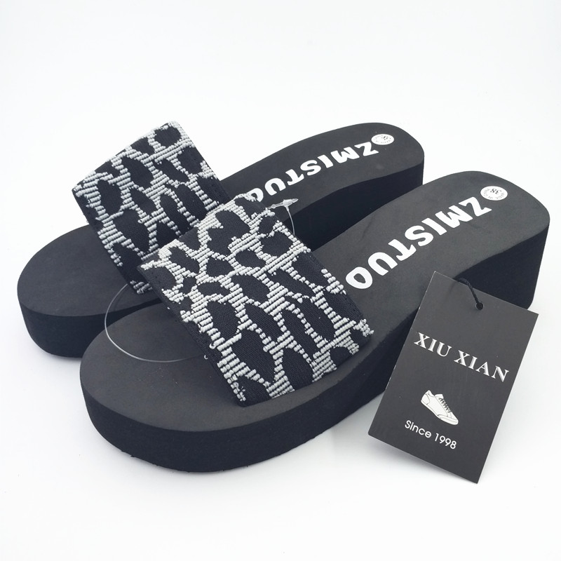 Creative Leopard Cloth Thick High Heel Women Slippers Breathable Non Slip Summer Indoor Home Flip Flops Fashion Lady Casual Shoe
