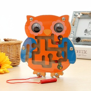 Image 2 - Baby Educational Maze Wooden Puzzle Animal Magnetic Maze Toys Baby Mental Intellectual Development Games Small Pen Kids Toy