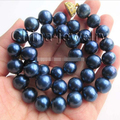 "1507 17.5"" 11-12mm blue round freshwater pearl necklace - magnet zircon GP clasp"