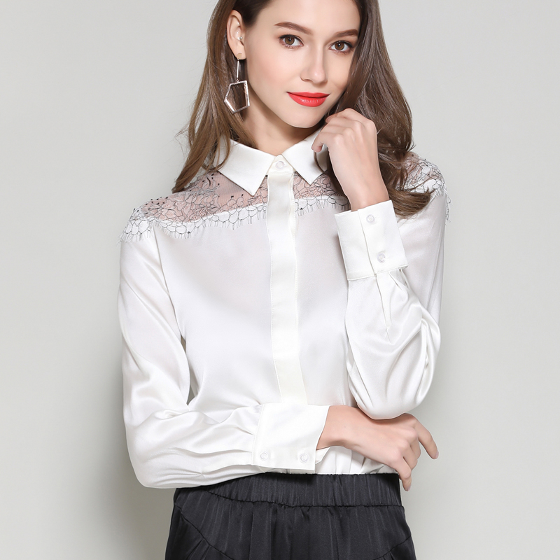 Silk Stain Blouses shirts Plus Size Woman Summer Top 2019 female office lady work silk lace patchwork white Shirts Blouses tops