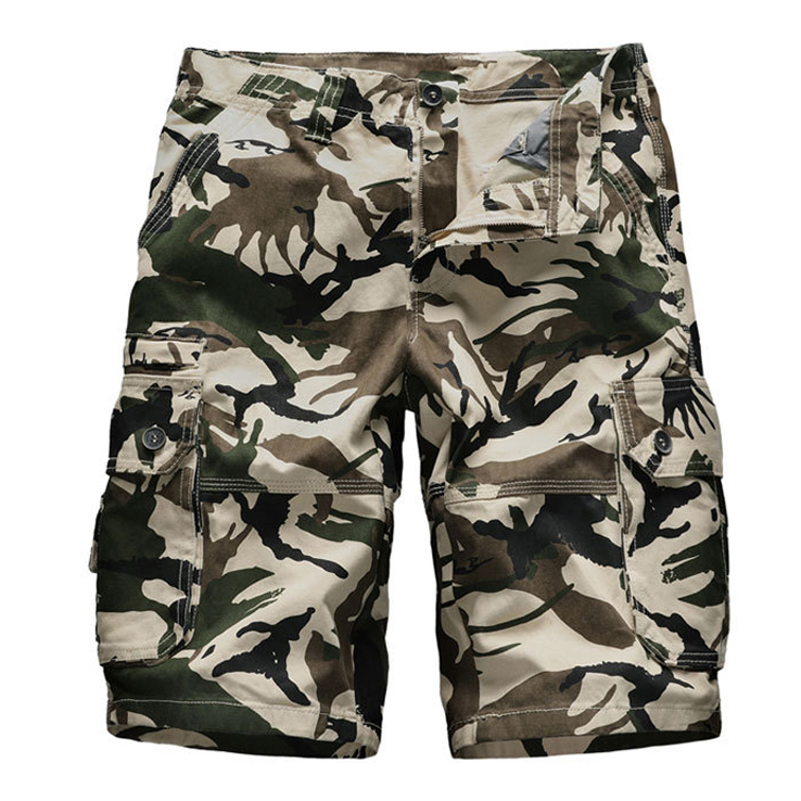 Camouflage Camo Cargo Shorts Mens Tactical Loose Work Shorts Knee Length Military Army Cargo Short Pants Plus Size Brand Cloth
