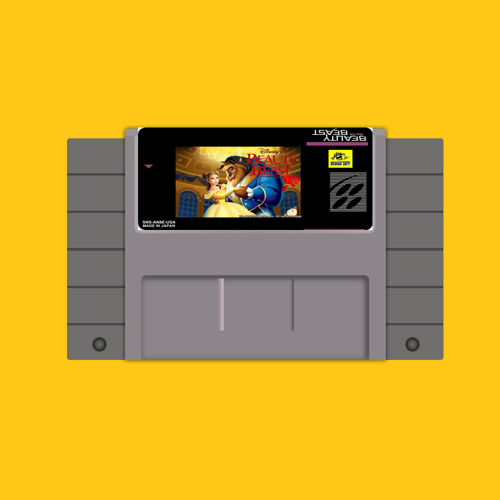 Beauty and the Beast 16 bit Big Gray Game Card For USA NTSC Game Player