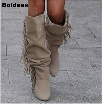 Fashion solid beige color Real Leather fringed Knee High boots pointed toe side zipper high heels tassels boots women booties