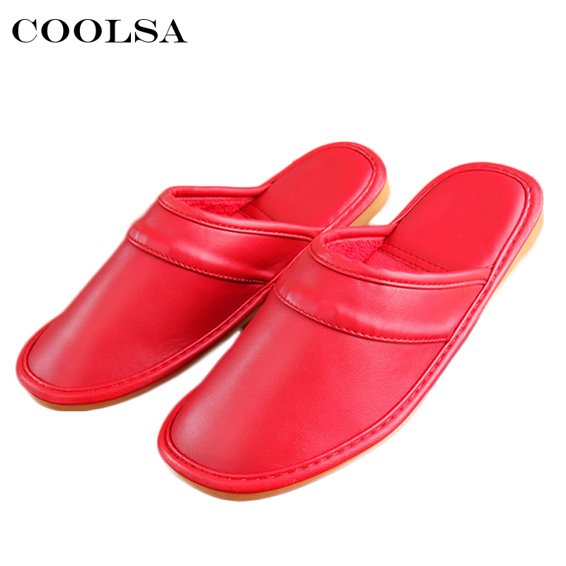 Coolsa Winter New Women Leather Cotton Slippers PU Short Plush Oxford Home Slippers Female Waterproof Indoor Casual Warm Shoes