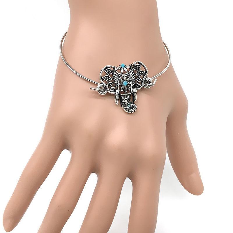 Women Retro Ethnic Boho Hollow Elephant Totem Bangle Bracelet Cuff Jewelry