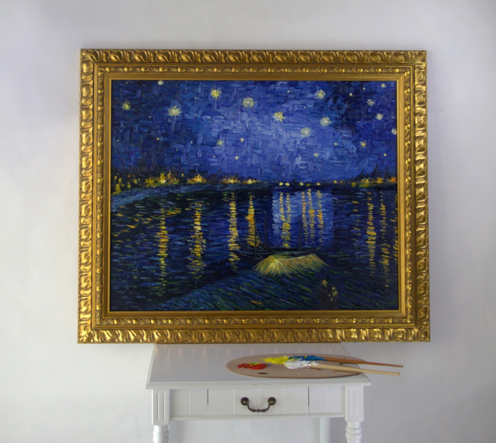 Compare prices on starry night reproduction online for Framed reproduction oil paintings
