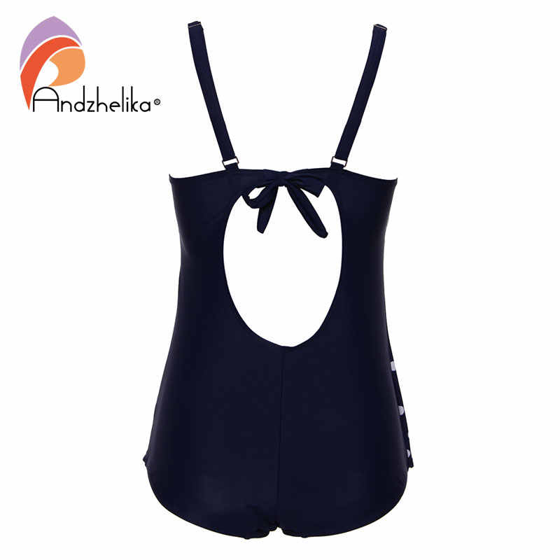 Andzhelika плюс размер купальники цельное платье купальник женский 2017 сексуальный в горошек черный Боди купальный костюм монокини пляжный купальник