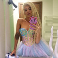 Ball Gown 2016 New Summer Sexy Lavender Blue Mini Short Beaded Organza Cocktail Dresses Party Dress robe de cocktail Customize
