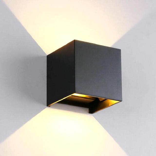 Dimmable COB IP67 קוביית מתכוונן צמודי חיצוני LED תאורת LED מקורה קיר אור עד למטה 15W LED קיר מנורה