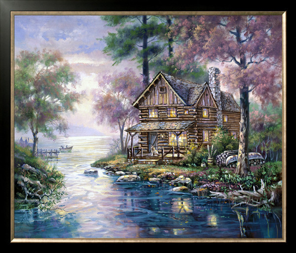 New Diy Diamond Painting Kits Set Handcraft Cottage River Woods Boat Oil Mosaic Pasted