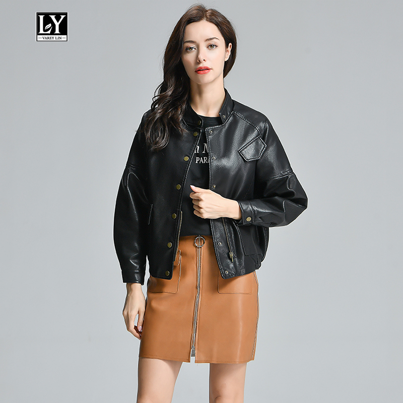 Ly Varey Lin Vintage Faux Soft   Leather   Women Loose Jacket Coats Female Button Decorate Black Pu Motorcycle Retro Outerwear New