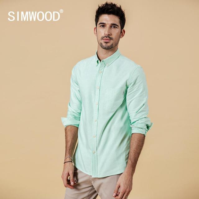 SIMWOOD Brand Men Shirts New 2019 Fashion Long Sleeve 100% Pure Cotton Blouse Slim Fit Plus Size Brushed Oxford Shirt  180569 1