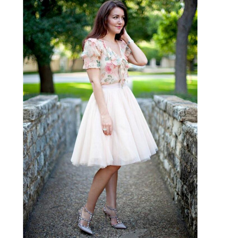 Knee Length Adult Skirts Tutu Tulle Tiered Layers Custom Made Bust Women Skirts Spring Summer Hottest Sell