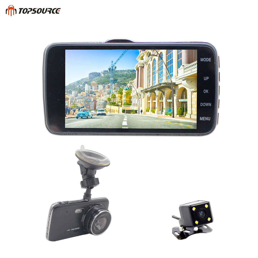 TOPSOURCE 4 Inch IPS screen ADS Car DVR Full HD 1926P Dual Camera Lens Front car