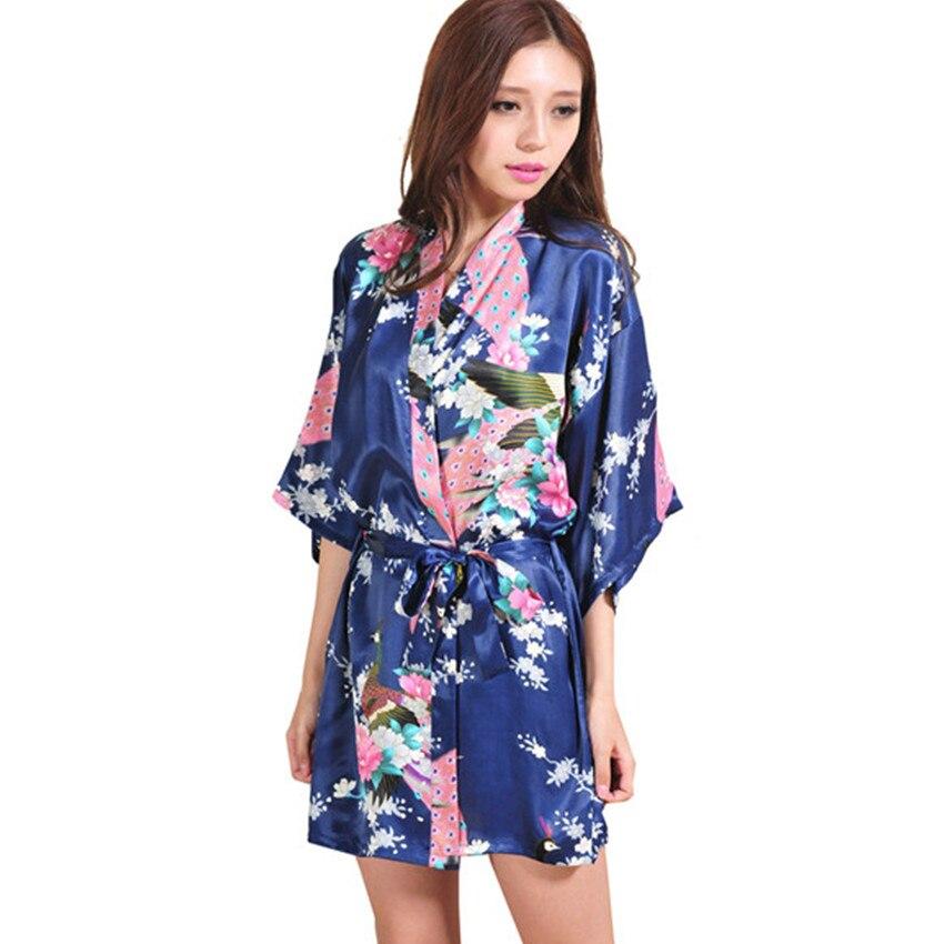 Navy Blue Female Printed Floral Kimono Dress Gown Chinese Style Rayon Robe Nightgown Flower S M L XL XXL XXXL 20160411