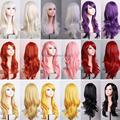 Top Quality Women's Synthetic Hair Wig Heat Resistant Full Long Wavy Layer Cosplay Party Wigs Pink Purple Orange Beautiful