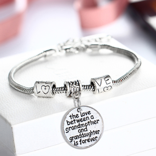 The Love Between Grandmother And Granddaughter Is Forever Charm Bracelet For Women Gifts Grandma Bracelets