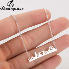 Shuangshuo London Bridge Shape Necklace For Women Pendants Necklaces Silver Chain Chokers Stainless Steel Collier Femme Jewelry(China)