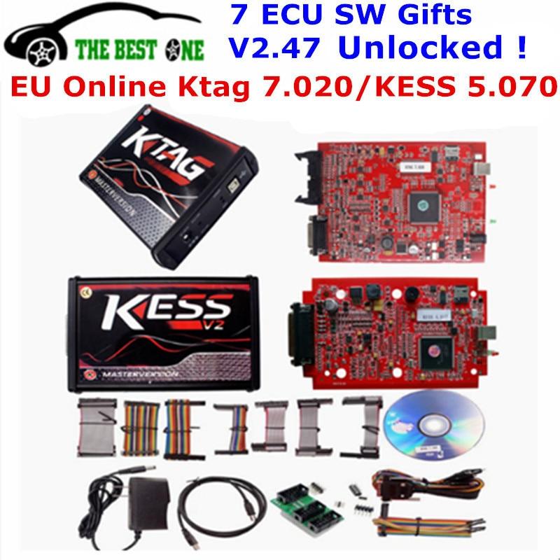 Online V2.47 EU Red KESS V5.017 No Token KTAG V7.020 V2.25 2.23 K-tag 4 LED Kess V2 5.017 OBD2 Manager Tuning Kit ECU Programmer