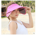 2016 New Arrival Fashion Empty Top Beach Cap Sunbonnet Visor Hat Solid Summer Hat For Women Sunscreen Folding Sun Hat 7 Colors