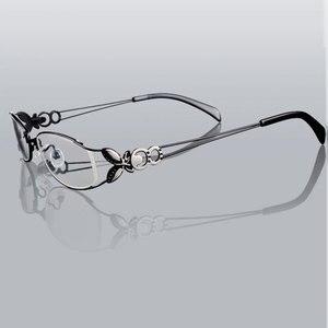 Image 3 - 蝶合金エレガントな女性メガネフレームの女性ヴィンテージ光学ガラス平野アイボックス眼鏡フレーム近視メガネ