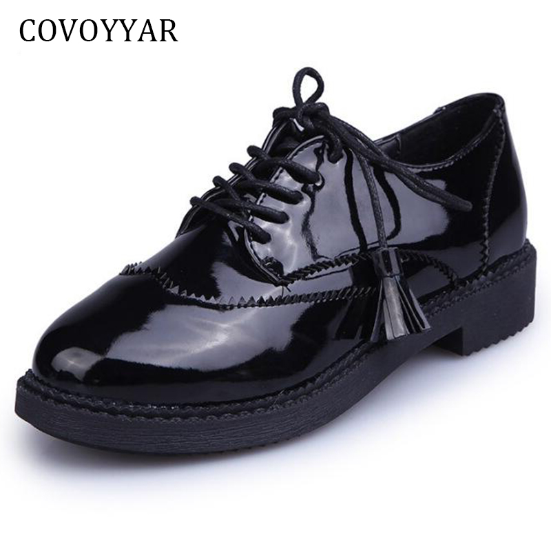COVOYYAR 2018 Vintage Fringe Oxfords Brogue Shoes Spring Fall Tassel Patent Leather Women Flats Lace Up Basic Black Shoes WFS927 lloprost ke spring women platform shoes oxfords brogue patent leather flats lace up round toe shoes vintage casual shoes my110