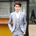 2016 Groom Wedding Suits for Men 3PCS / Set ( Jacket + Vest + Pants) Korean Homecoming Suits Slim Fit Mens Costume Mariage Homme