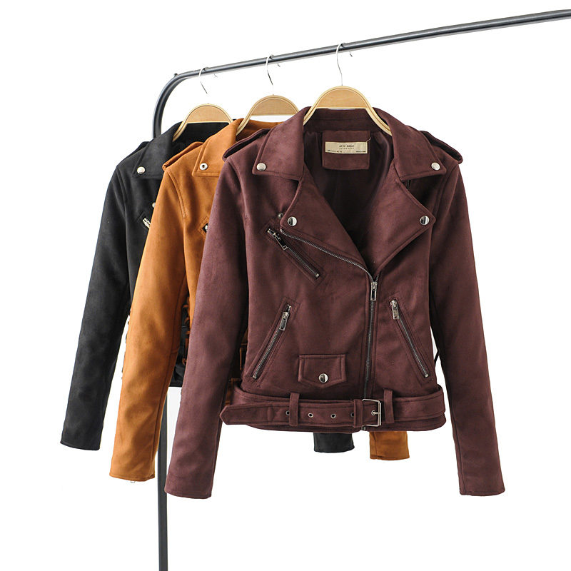 2019 New Autumn Winter Women Motorcycle Faux PU   Leather   Black Red Jackets Lady Biker Outerwear Coat with Belt Hot Sale 7 Color