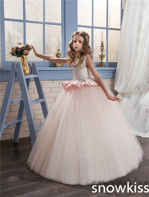 2018 blush pink o-neck flower girl dress for wedding with beaded crystals tulle ball gown pretty girls pageant prom dresses vintage flower girl dresses for wedding jewel neck ankle length girls pageant gown with lace beaded sash backless communion gown
