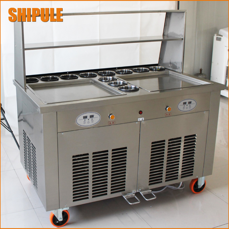 Double Pans Fried Ice Cream Machine 2 Square Pans Ice Cream Roll Making Machine with Salad Fruit Workbench 11pcs Tanks Cooling цена и фото