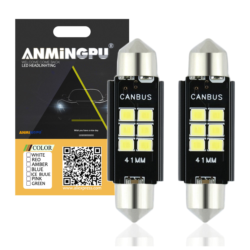 ANMINGPU 2pcs Signal Lamp C5W CANBUS Led C10w Led Interior Light Festoon 31mm 36mm 39mm 41mm Reading Dome Lamp 12V 6000K White nao 2x c5w led c10w bulb car interior light festoon 31mm 36mm 39mm 41mm smd 3030 cob reading dome lamp 12v 24v 6000k white