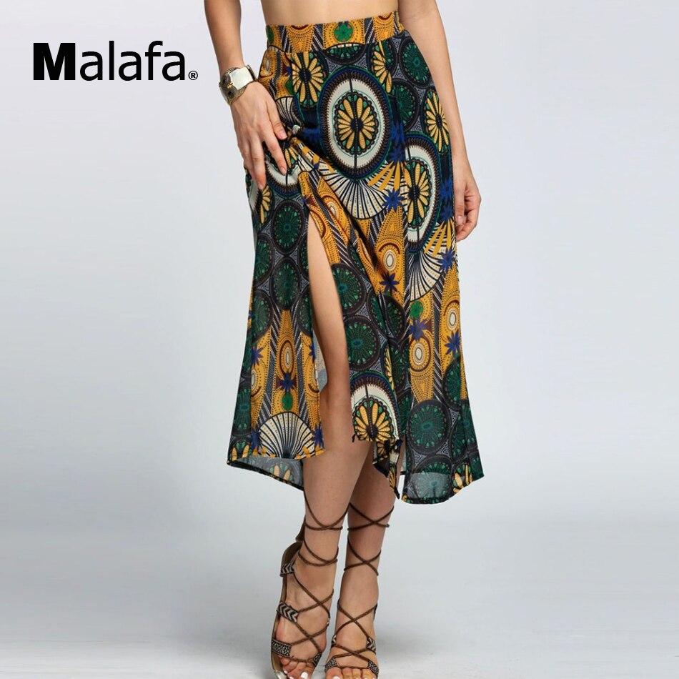 chiffon print high waisted skirt side slit