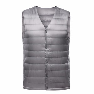 Image 2 - 2019 New Fashion Ultra Light Down Vest Men Spring Autumn Sleeveless Collarless Vest Male Casual Winter White Duck Down Waistcoat