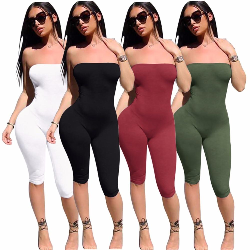 Tömör egyszerű stílusú nők vállnélküli nadrágos szexi - Női ruházat - Fénykép 2
