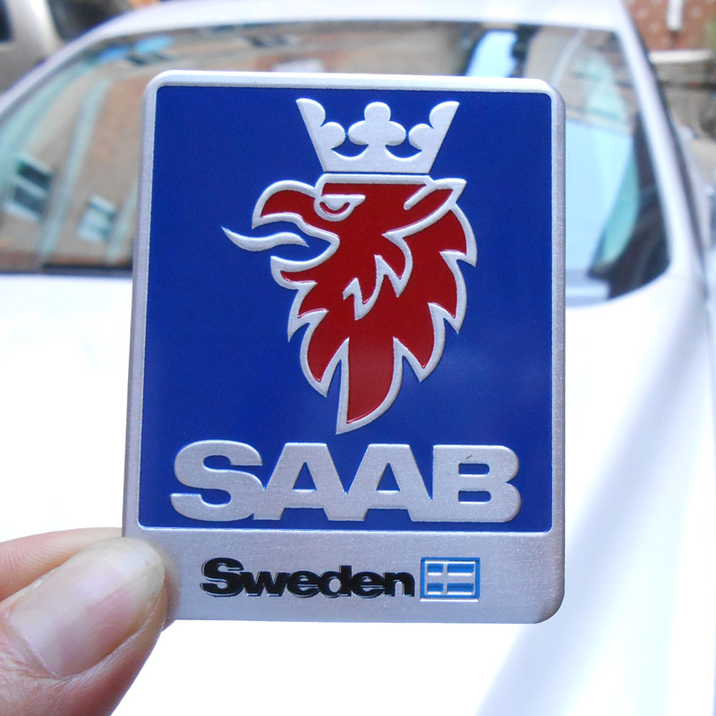 "3d 1,9/"" Saab Hood trunk badge emblem decal 9-3 9000 9-5"