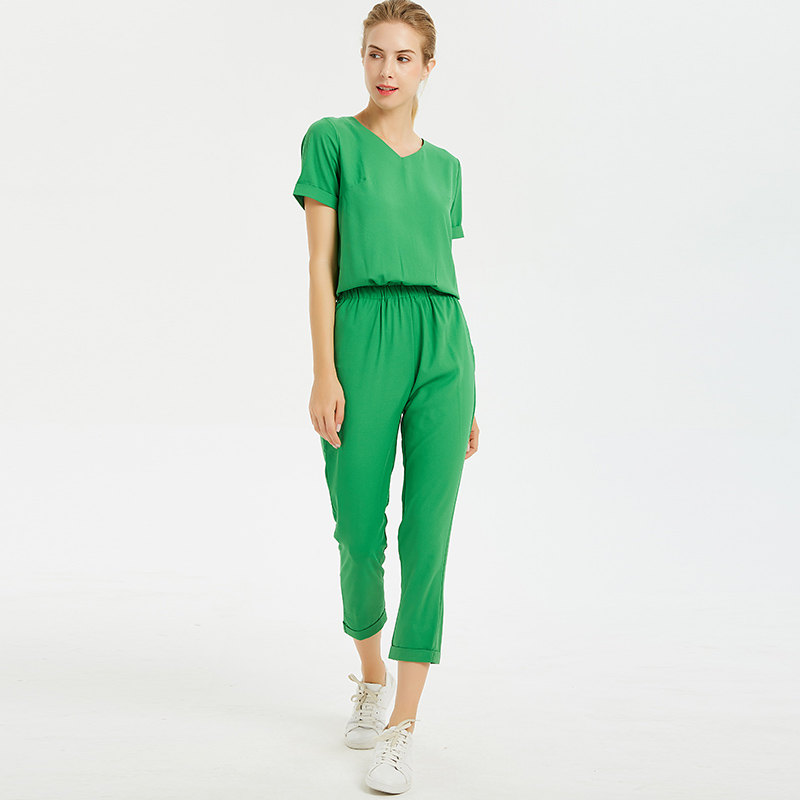 Women Summer Beach Style Chiffon Green V-neck Ankle-Length Jumpsuits