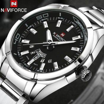 NAVIFORCE Brand Men Watches Business Quartz Watch Men's Stainless Steel Band 30M Waterproof Date Wristwatches Relogio Masculino 1