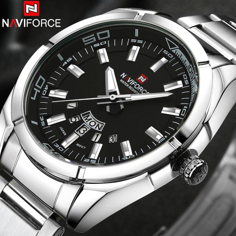 NAVIFORCE marque hommes montres affaires Quartz montre hommes acier inoxydable bande 30M étanche Date montres Relogio Masculino | AliExpress