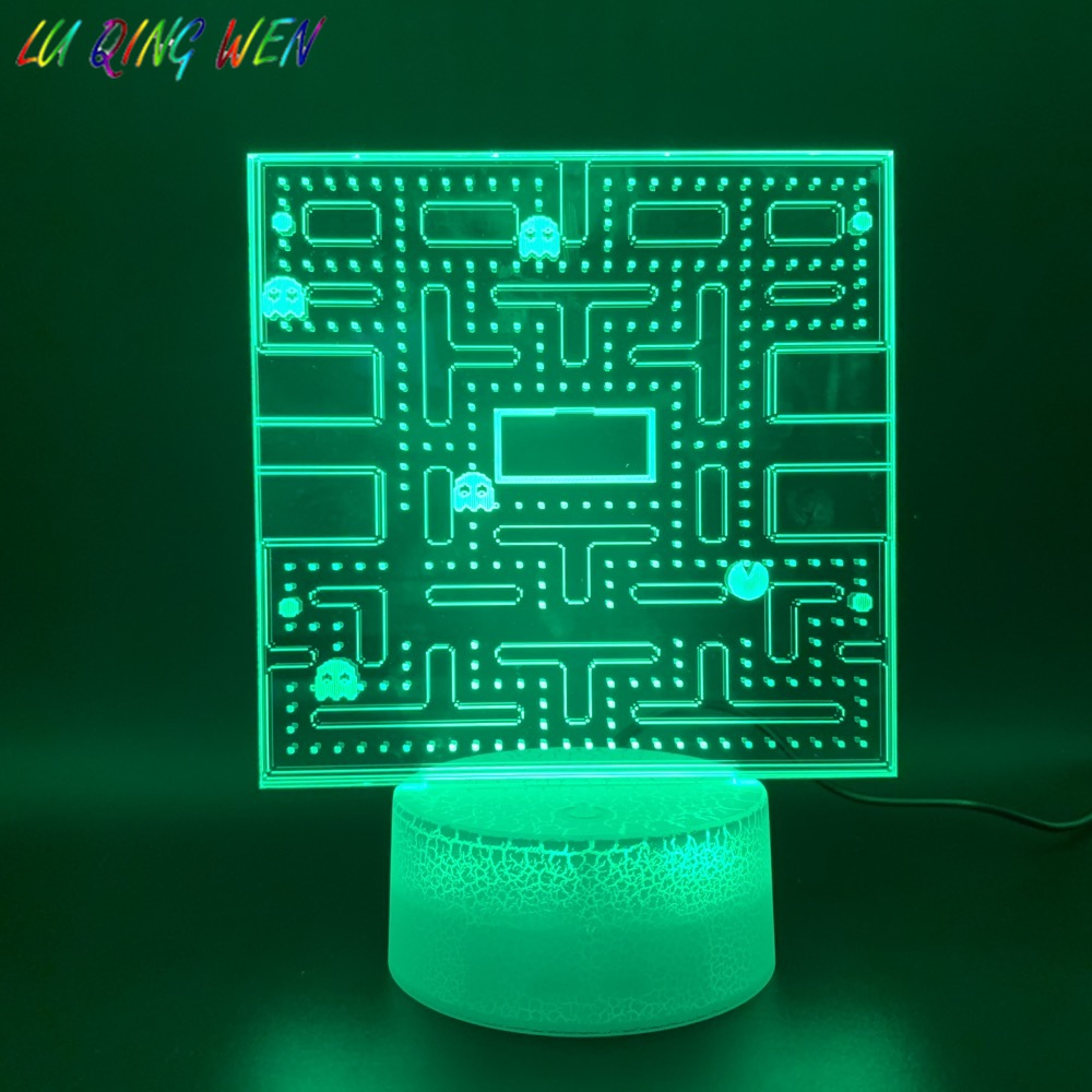 Game PAC MAN 3D Led Night Light Home Decoration Crafts Cool Baby Nightlight Bright Base Touch Sensor Usb 3d Night Lamp Pacman