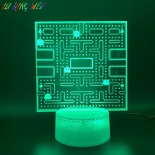 Game PAC MAN 3D Led Night Light Home Decoration Crafts Cool Baby Nightlight Bright Base Touch Sensor Usb 3d Lamp Pacman