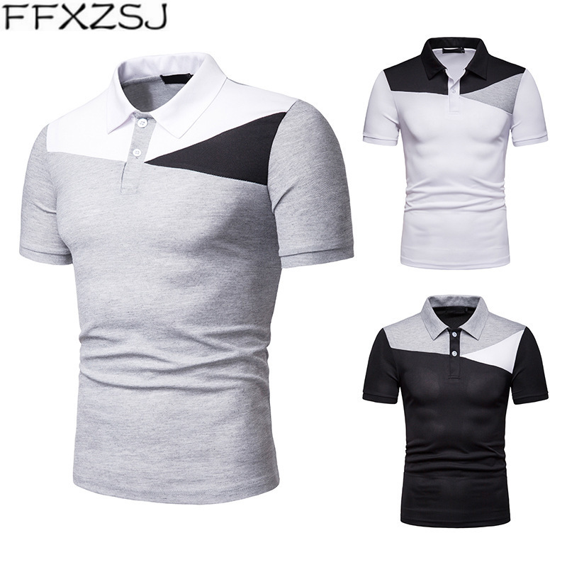FFXZSJ   Polo   Shirt Men 2019 Fashion Colorblock Short Sleeve   Polos   Cotton Breathable Slim Men's Bottoming Shirt Casual Camisa